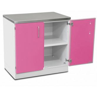 Шкаф медицинский нижний для хранения инструментов и перевязочного материала (с полками, двухстворчатый) в