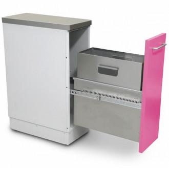 Шкаф медицинский нижний для медицинских отходов ( с выдвижной секцией, узкий) в