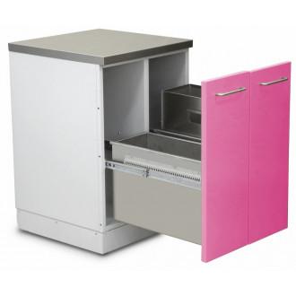 Шкаф медицинский нижний для медицинских отходов (с 2 выдвижными секциями) в