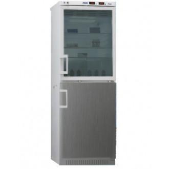 Холодильник фармацевтический двухкамерный ХФД-280(ТС) (140/140 л) с дверью из металлопласта и с тонированной стеклянной дверью серебряного цвета в