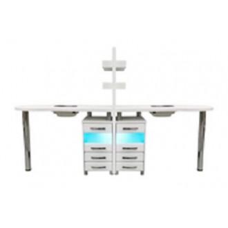 Стол для маникюра двухместный с УФ блоками и вытяжками в