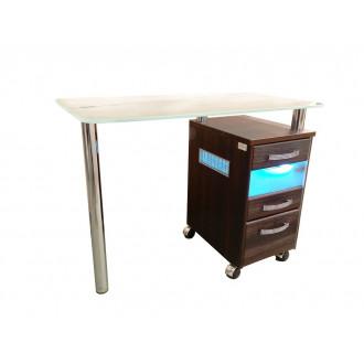 Стол маникюрный однотумбовый со стеклянной столешницей и УФ-блоком в