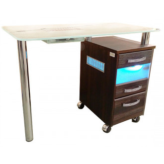 Стол маникюрный однотумбовый со стеклянной столешницей и УФО-блоком и вытяжкой в